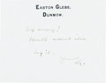 Books:Manuscripts, H. G. Wells Autograph Note Signed. One page on Wells' stationerycard, 3.5 x 4.5 inches, Easton Glebe, [n.d.]....