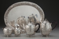 Silver Holloware, Continental:Holloware, A FIVE-PIECE GERMAN SILVER TEA AND COFFEE SERVICE, Possibly Hanau,Germany, circa 1850. Marks: (eagle), (crown over L), CC...(Total: 5 )