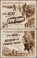 "Movie Posters:Western, Cow Town & Other Lot (Columbia, R-1956). Half Sheets (2) (22"" X 28""). Western.. ... (Total: 2 Items)"