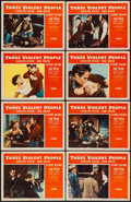 """Movie Posters:Western, Three Violent People (Paramount, 1956). Lobby Card Set of 8 (11"""" X14""""). Western.. ... (Total: 8 Items)"""