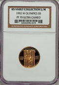 1992-W G$5 Olympic Gold Five Dollar PR70 Ultra Cameo NGC. Ex: U.S. Vault Collection L/M. NGC Census: (2534). PCGS Popula...