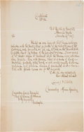 Autographs:Military Figures, [African Squadron]. Copy of Commodore William C. Bolton Letter fromthe USS Jamestown....