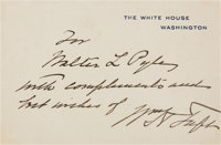 William Taft White House Card Signed and Inscribed