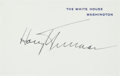 Autographs:U.S. Presidents, Harry Truman White House Card Signed... (Total: 2 Items)