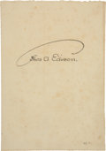 Autographs:Inventors, Thomas Edison and Henry Ford Signatures....