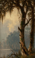 Fine Art - Painting, American:Antique  (Pre 1900), JOSEPH RUSLING MEEKER (American, 1827-1889). LouisianaLandscape, 1880. Oil on canvas. 19-1/4 x 11-1/2 inches (48.9 x29...
