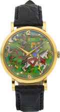 Timepieces:Wristwatch, Universal Geneve Fine & Very Rare Cloisonne Dial Ref. 112167 Yellow Gold Wristwatch, circa 1950's. ...