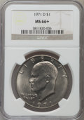 Eisenhower Dollars: , 1971-D $1 MS66+ NGC. NGC Census: (611/41). PCGS Population (926/20). Mintage: 68,587,424. Numismedia Wsl. Price for problem...