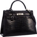 Luxury Accessories:Bags, Hermes 32cm Shiny Black Porosus Crocodile Sellier Kelly Bag with Palladium Hardware . Very Good to Excellent Condition ...
