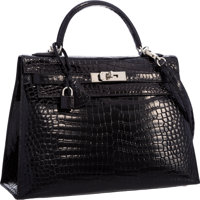Hermes 32cm Shiny Black Porosus Crocodile Sellier Kelly Bag with Palladium Hardware Very Good to Excellent Con