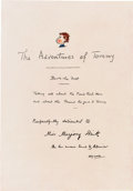Books:Children's Books, H. G. Wells. LIMITED. The Adventures of Tommy. London: TheAmalgamated Press, [1928]....
