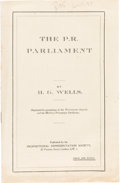 Books:Pamphlets & Tracts, H. G. Wells. The P. R. Parliament. London: ProportionalRepresentation Society, 1924....