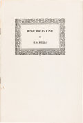 Books:Pamphlets & Tracts, H. G. Wells. History Is One. [Boston: Ginn and Co., 1919]....