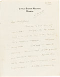 Books:Manuscripts, H. G. Wells. Autograph Letter Signed. On Wells's Little Easton Rectory, Dunmow stationary, Sept. 19, 1914....