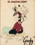 "Animation Art:Production Drawing, Saludos Amigos Goofy as ""El Gaucho Goofy"" Illustration (WaltDisney, 1946)...."