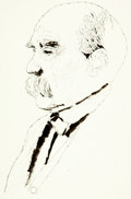 Books:Original Art, [Original Art]. Anthony Saris. Original Pen and Ink Drawing Depicting Georges Clémenceau. Ink and pencil on paper. Dated, Ju...