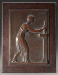 Bronze:American, VICTOR BRENNER (American, 1871-1924). Woman Reaching for aVase, 1904. Bronze with brown patina. 9-1/2 x 6-1/2 inches(2...