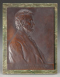 Bronze:American, VICTOR BRENNER (American, 1871-1924). Abraham Lincoln, 1907.Bronze relief with brown patina. 9-1/2 x 7-1/4 inches (24.1...