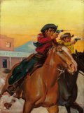 Mainstream Illustration, SAM CHERRY (American, 1903-1975). Gunmen Cowboys. Oil oncanvas. 24 x 18 in.. Signed lower right. ...