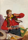 Pulp, Pulp-like, Digests, and Paperback Art, RICHARD LILLIS (American, 1899-1995). Broken Gun, ThrillingWestern pulp magazine cover, November 1946. Oil on canvas. 3...(Total: 2 Items)