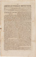 Miscellaneous:Newspaper, [War of 1812]. Newspaper: The American Weekly Messenger....