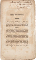 Autographs:Statesmen, [Faneuil Hall]. Josiah Quincy, III, Imprint Signed and Inscribed:City of Boston....