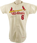 Baseball Collectibles:Uniforms, 1962 Stan Musial Game Worn Jersey. It was more than the simple attraction to a rhyme that made St. Louis Cardinals fans dub...