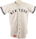Baseball Collectibles:Uniforms, 1975 Elston Howard Game Worn Jersey. The first African-American ballplayer to represent the New York Yankees likewise becam...