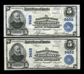 National Bank Notes:West Virginia, Fairmont, WV - $5 1902 Plain Back Fr. 600 The NB of Fairmont Ch. #9462. ... (Total: 2 notes)