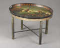 Furniture , A Regency Tole Tray on Stand. . 30 x 24 inches x 76.2 x 61.0 cm). ...