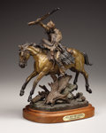 Fine Art - Sculpture, American:Contemporary (1950 to present), A Bronze Figure of a Mountain Man on Horseback, Hell Bent forLeather. . Truman Bolinger, American. 1983. Bronze wit...