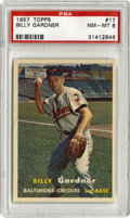 Baseball Cards:Singles (1950-1959), 1957 Topps Billy Gardner #17 PSA NM-MT 8. Glossy #17 Billy Gardner seen here grades a PSA 8 -- good enough to have only fou...
