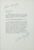 """Movie/TV Memorabilia:Autographs and Signed Items, A Walter Plunkett Signed Letter Relating to """"Gone With The Wind,"""" Circa 1970s...."""