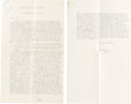 Books:Manuscripts, H. G. Wells Typed Manuscript Signed, A Note on Methods ofControversy. Two folio leaves, rectos only, 13 x 8 inches....