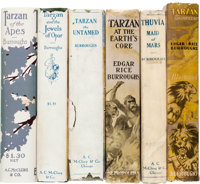 Edgar Rice Burroughs. Works. [Various places: publishers, dates]. First editions. Fifty-four volumes. Thirty-three