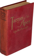 """Books:Fiction, Edgar Rice Burroughs. Tarzan of the Apes. Chicago: A. C. McClurg & Co., 1914. First edition, first state (no """"acorn..."""