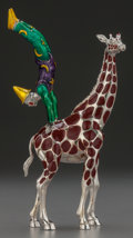 Silver Smalls:Other , A TWO-PART TIFFANY & CO. SILVER AND ENAMEL CIRCUS GIRAFFE WITHACROBAT, Designed by Gene Moore, New York, New York, circ...(Total: 2 )