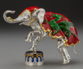 Silver Smalls:Other , A TIFFANY & CO. SILVER AND ENAMEL CIRCUS ELEPHANT AND DRUM,Designed by Gene Moore, New York, New York, circa 1990. Marks: ...(Total: 2 )