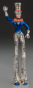 Silver Smalls:Other , A TIFFANY & CO. SILVER AND ENAMEL CIRCUS TALL MAN, Designed byGene Moore, New York, New York, circa 1990. Marks: TIFFANY...