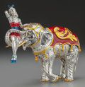 Silver & Vertu:Hollowware, A TIFFANY & CO. SILVER AND ENAMEL CIRCUS ELEPHANT AND PERFORMER, Designed by Gene Moore, New York, New York, circa 1990. Mar...