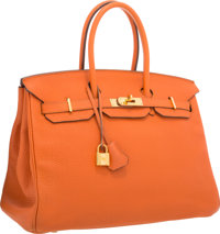 Hermes 35cm Orange H Clemence Leather Birkin Bag with Gold Hardware Very Good to Excellent Condition