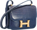 Luxury Accessories:Bags, Hermes 18cm Shiny Blue Saphir Alligator Double Gusset Constance Bagwith Gold Hardware . Good to Very Good Condition . ...