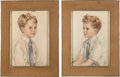 Movie/TV Memorabilia:Original Art, A Pair of Watercolor and Pencil Portraits of the Farrow Brothers,1949.... (Total: 2 Items)