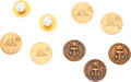 Movie/TV Memorabilia:Memorabilia, A John Farrow Collection of 18K Gold Buttons, Circa 1930s....