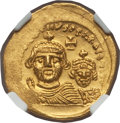 Ancients:Byzantine, Ancients: Heraclius (AD 610-641), with Heraclius Constantine (AD613-641). AV solidus (21mm, 4.48 gm, 7h)....