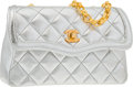Luxury Accessories:Bags, Chanel Metallic Silver Quilted Lambskin Leather Shoulder Bag withGold Hardware . Very Good to Excellent Condition .7...