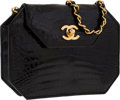 "Luxury Accessories:Bags, Chanel Black Crocodile Shoulder Bag with Gold Hardware. Very Good to Excellent Condition . 7.5"" Width x 5.5"" Height x ..."