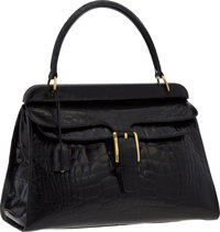 """Gucci Black Crocodile Top Handle Bag with Gold Hardware Good to Very Good Condition 14.5"""" Width"""
