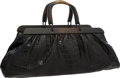 """Luxury Accessories:Bags, Gucci Black Crocodile Doctor Bag with Wooden Handles . Very Goodto Excellent Condition . 22"""" Width x 7.5"""" Height x 7""""..."""