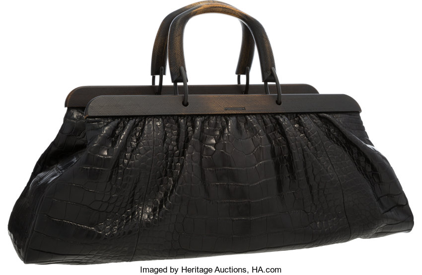 Gucci Black Crocodile Doctor Bag With Wooden Handles Very Good To